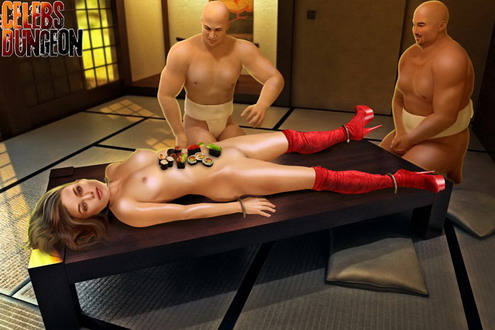 Food for Keira Knightley. Erotic sushi for a star! - BDSM Comics Celebs Dungeon