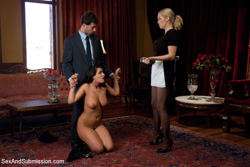 Slave young girl bounded and whipped byt latex ladies - 3 8